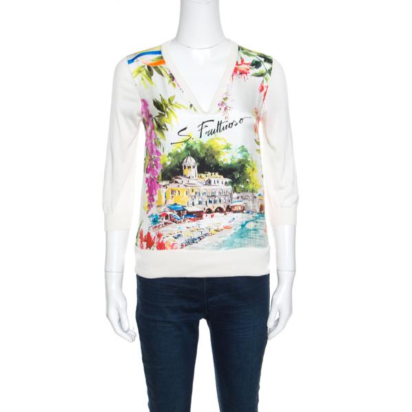 Pre-owned Dolce & Gabbana Multicolor Portofino Printed Silk Sweater S