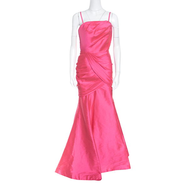 Pre-owned Monique Lhuillier ml By  Pink Draped Strapless Faille Gown L