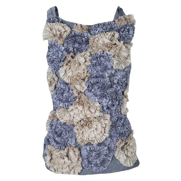 Dries Van Noten Floral Applique Textured Sleeveless Backless Top S In Multicolor