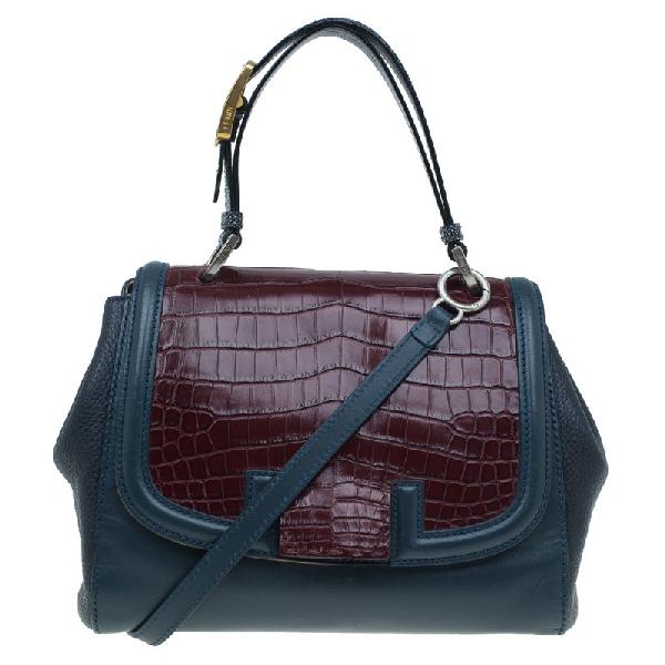 Fendi Tri Color Croc And Leather Silvana Shoulder Bag In Multicolor