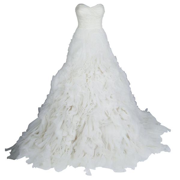 Pre-owned Monique Lhuillier F/w 2014 Skye Strapless Silk Organza Wedding Dress L In White