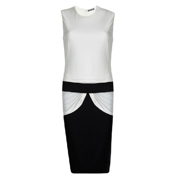 Alexander Mcqueen Monochrome Knit Draped Sleeveless Dress M In Multicolor