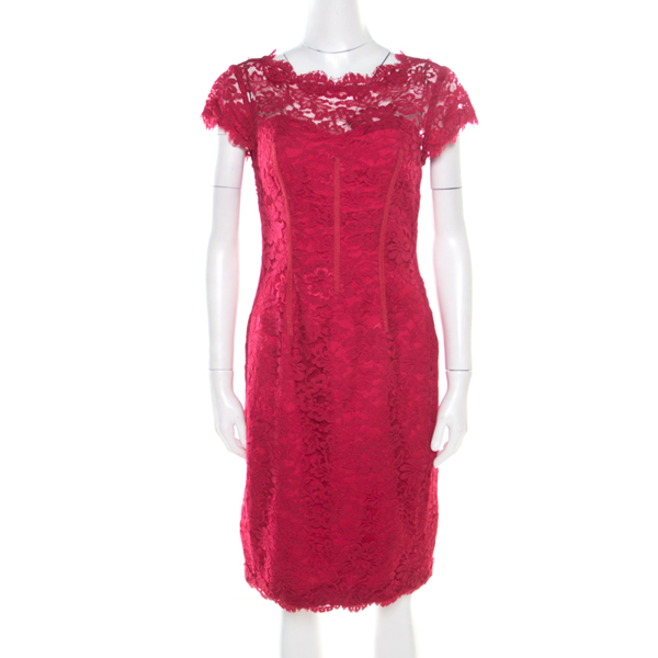 Pre-owned Monique Lhuillier ml By  Pink Floral Lace Scalloped Trim Cut Out Back Detail Dress M