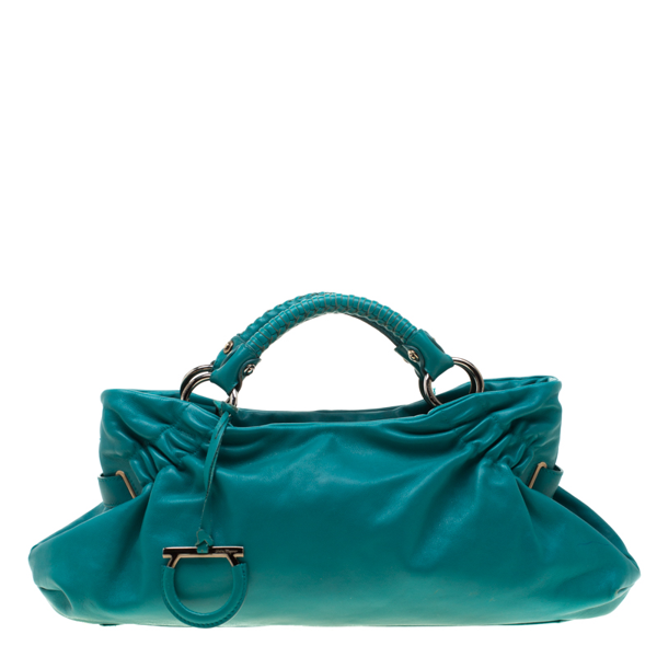 Salvatore Ferragamo Turquoise Leather Ottavia Satchel In Green