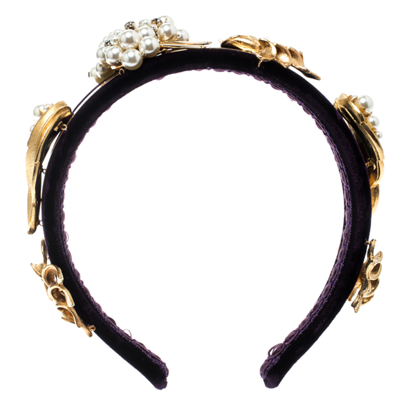 Pre-owned Dolce & Gabbana Purple Velvet Faux Pearl Embellished Gold Tone Headband