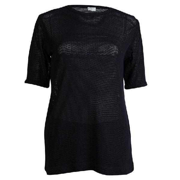 Dries Van Noten Navy Blue Perforated Knit T-shirt M