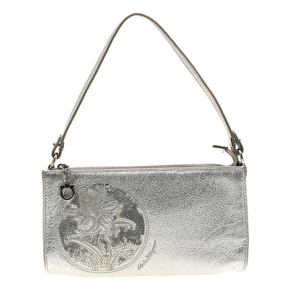 Pre-owned Salvatore Ferragamo Silver Floral Sequins Leather Pochette Bag