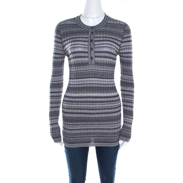 Pre-owned Dolce & Gabbana Grey Ribbed Knit Stripe Long Sleeve Sweater Top M