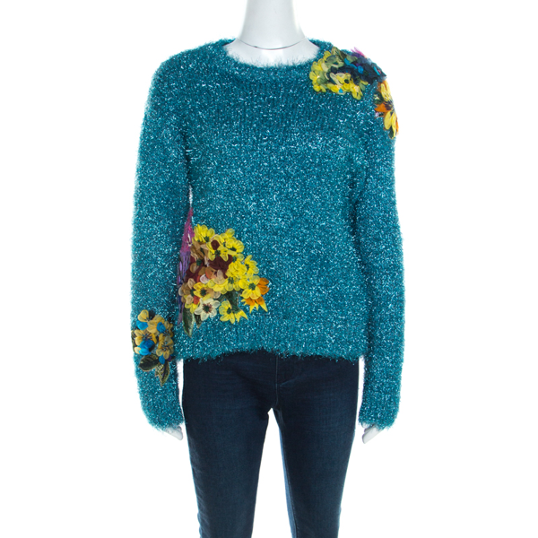 Dolce & Gabbana Metallic Blue Tinsel Rib Knit Floral Applique Sweater S In Black