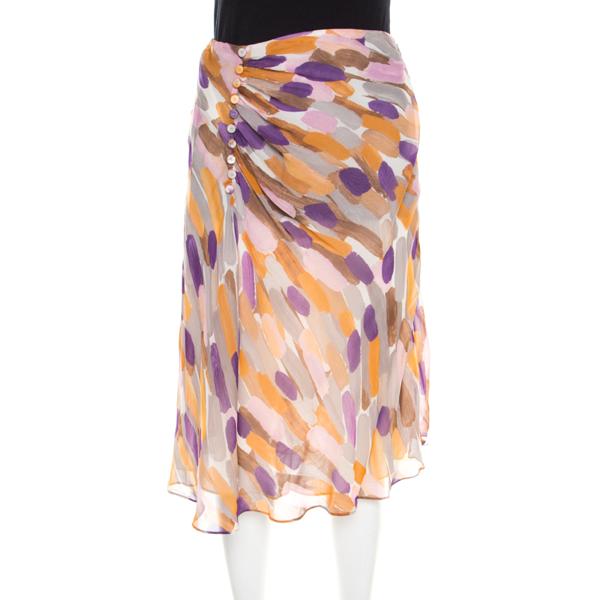Pre-owned Escada Multicolor Brush Stroke Printed Silk Chiffon A Line Skirt M