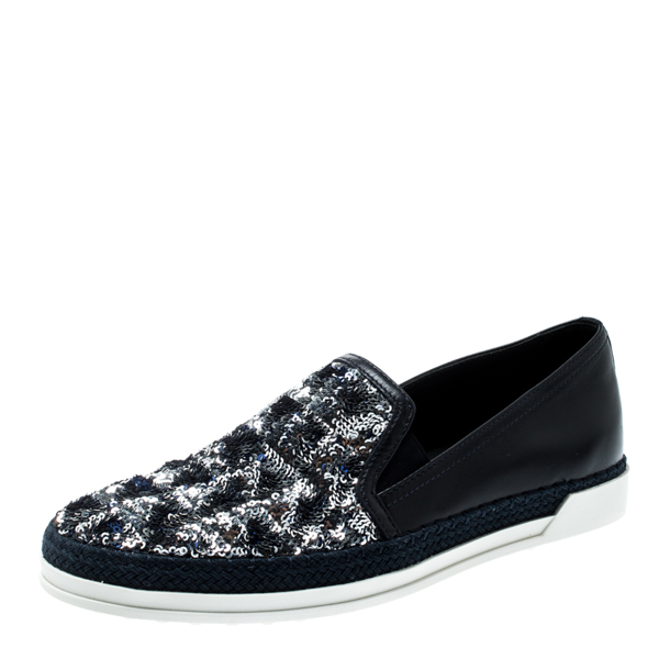 Pre-owned Tod's Blue Leather Sequin Embellished Espadrille Slip On Sneakers Size 37