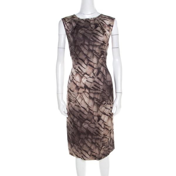 Pre-owned Escada Grey Mosaic Print Textured Silk Wool Sheath Dress L