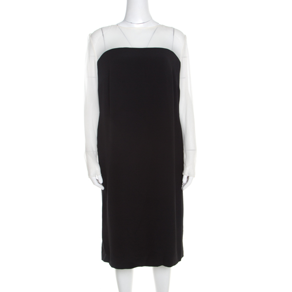 Pre-owned Escada Monochrome Sheer Yoke Detail Long Sleeve Dary Dress L In Black