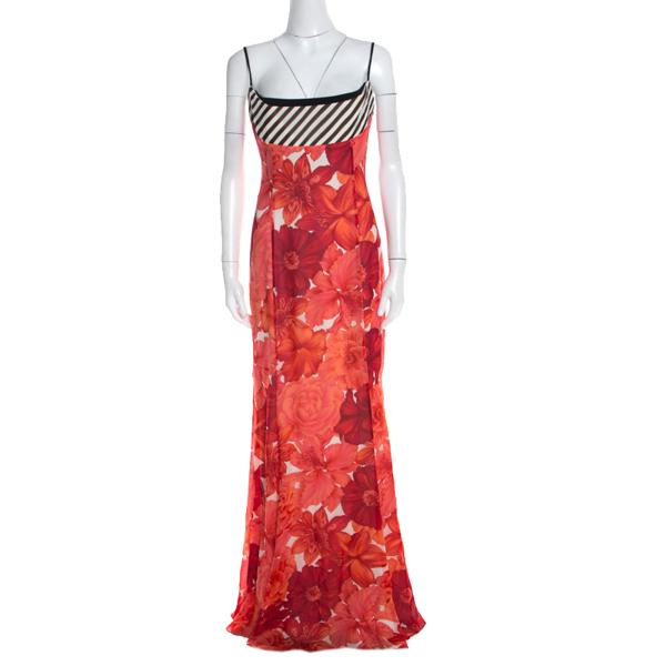 Pre-owned Escada Pink Floral Print Silk Corset Bodice Flared Abendkleid Maxi Dress M