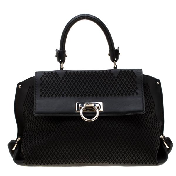 Pre-owned Salvatore Ferragamo Black Lasercut Leather Medium Sofia Satchel