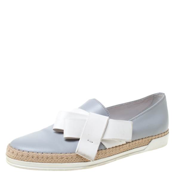 Pre-owned Tod's Light Grey Leather Bow Detail Espadrille Trim Loafers Size 40
