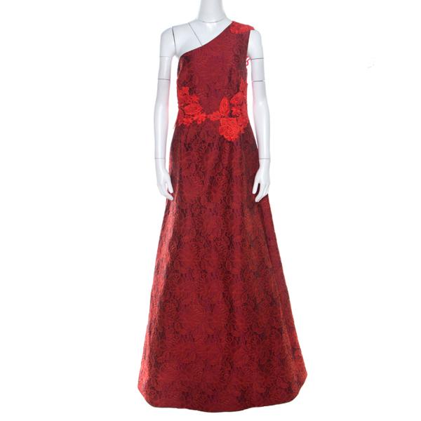 Pre-owned Monique Lhuillier Red Lace & Jacquard One Shoulder Evening Dress L
