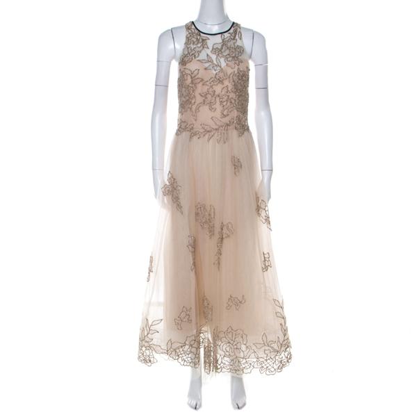 Pre-owned Monique Lhuillier Beige Tulle Sequin Embellished Evening Dress M