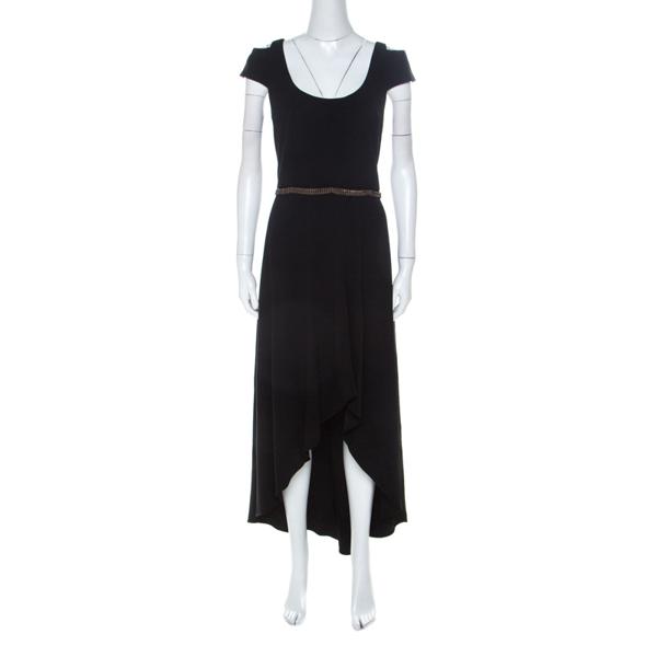 Monique Lhuillier ml By  Black Stretch Crepe Cold Shoulder Cocktail Dress L