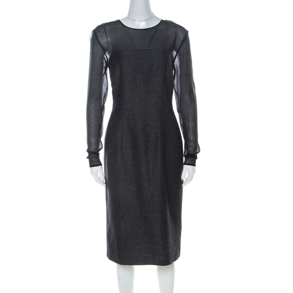 Pre-owned Escada Metallic Grey Wool Blend Sheer Yoke Dariello Pencil Dress M
