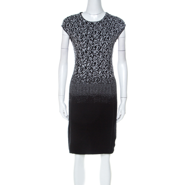 Pre-owned Escada Black And Grey Ombre Knit Sintala Dress S