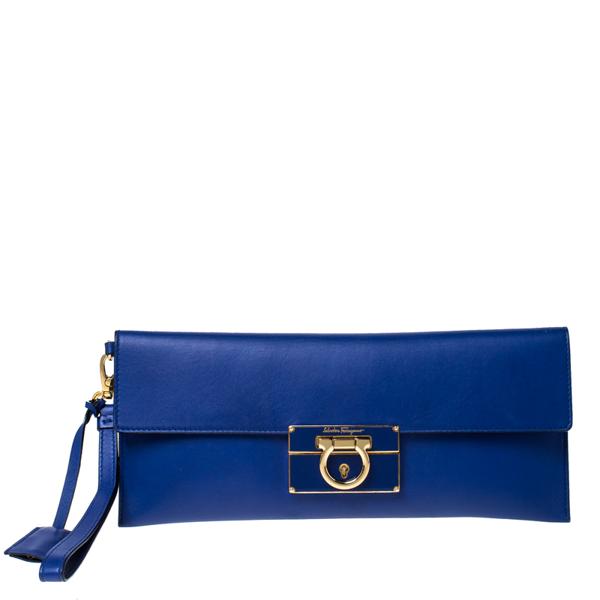 Pre-owned Salvatore Ferragamo Blue Leather Afef Gancio Clutch