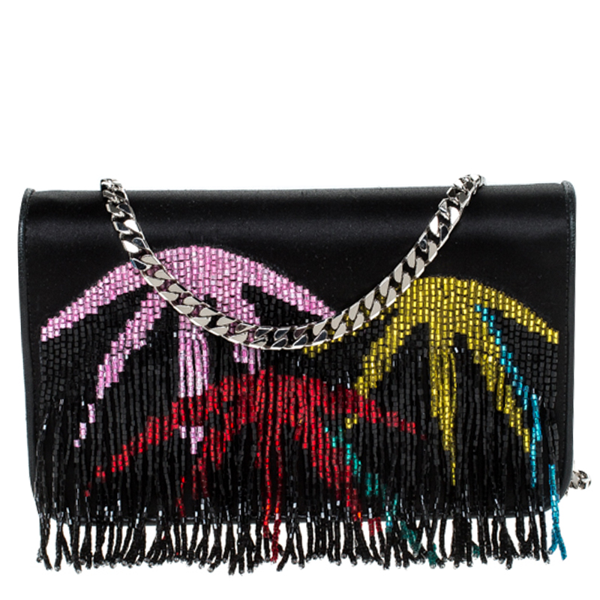 Pre-owned Les Petits Joueurs Black Ginny Palms Fringe Chain Clutch