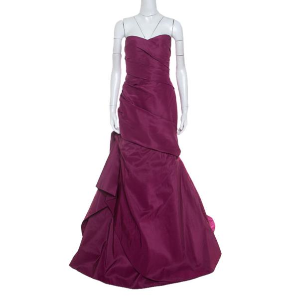 Pre-owned Monique Lhuillier Garnet Purple Silk Tufted Skirt Strapless Gown Xl