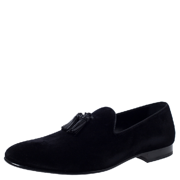 Burberry Black Velvet Tassel Loafers Size 45.5