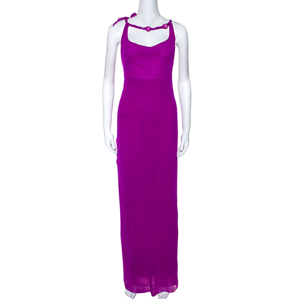 Pre-owned Jean Paul Gaultier Soleil Purple Stretch Beaded Neck Detail Maxi Dress L