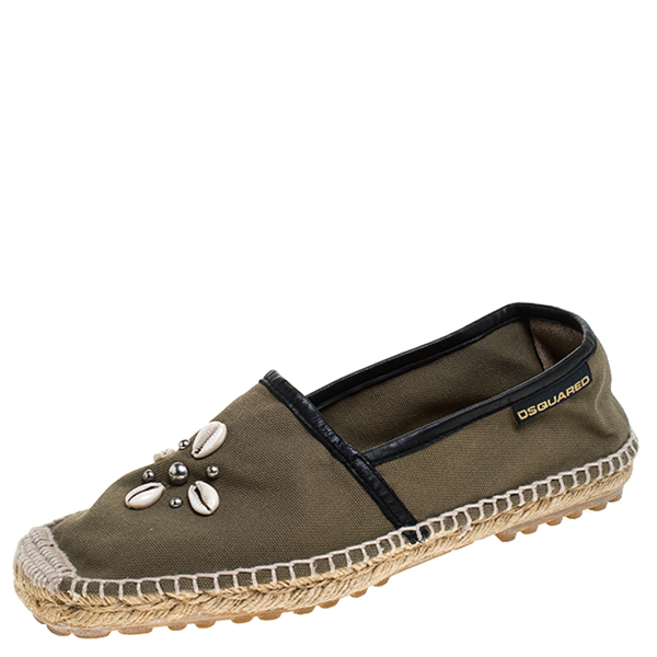 Dsquared2 Khaki Canvas Shell Embellished Espadrille Flats Size 39 In Beige