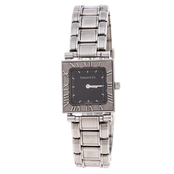 Pre-owned Tiffany & Co Grey Stainless Steel Atlas 30260324 Women's Wristwatch 23mm In Silver