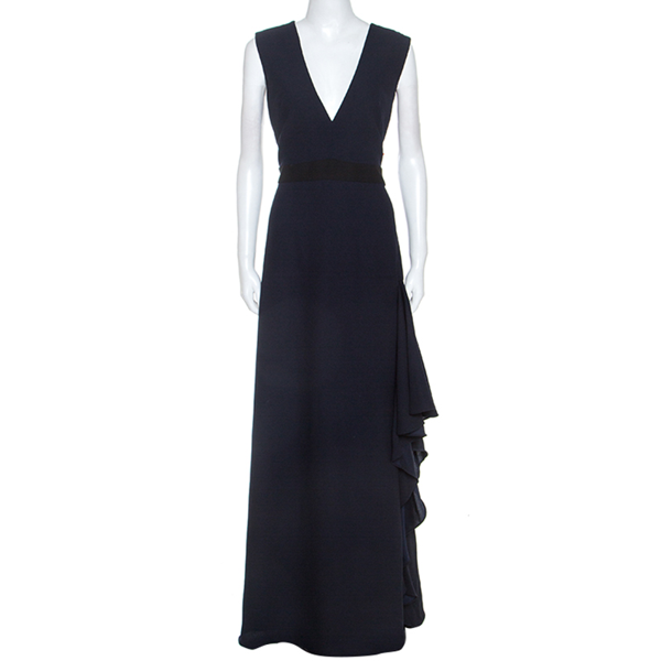 Pre-owned Monique Lhuillier Midnight Blue Crepe Sleeveless Dress L
