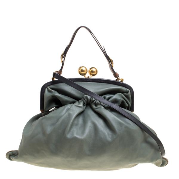 Pre-owned Marni Green Leather Kiss Lock Frame Shoulder Bag