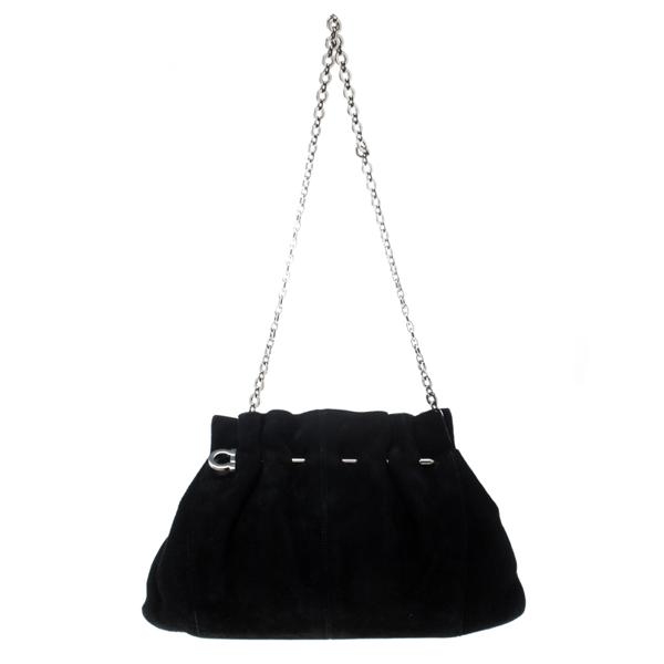 Pre-owned Salvatore Ferragamo Black Suede Chain Shoulder Bag
