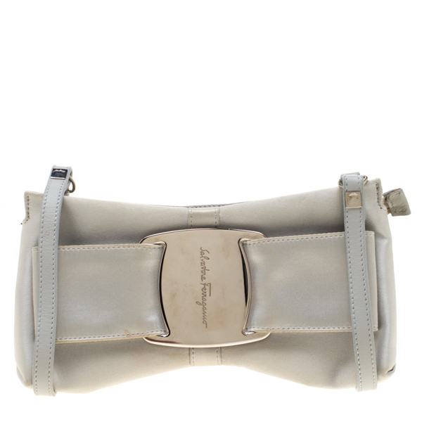 Pre-owned Salvatore Ferragamo Silver Satin And Leather Bow Crossbody Bag