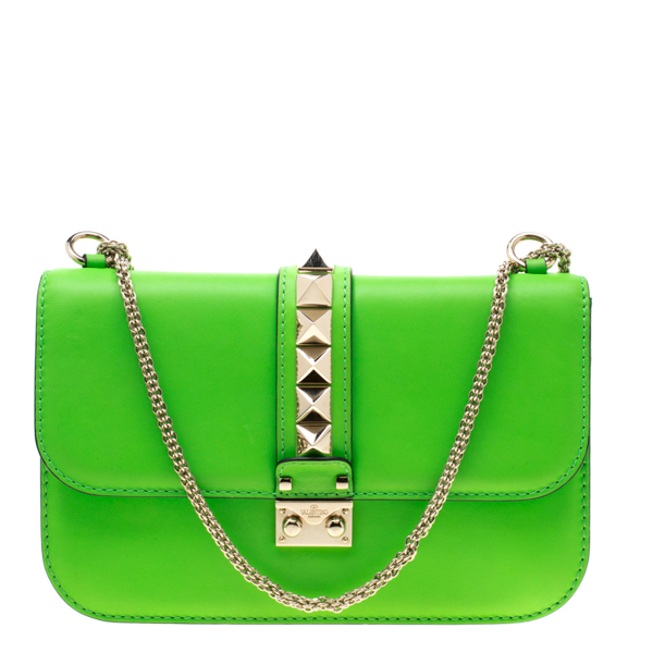 Pre-owned Valentino Garavani Neon Green Leather Rockstud Medium Glam Lock Flap Bag