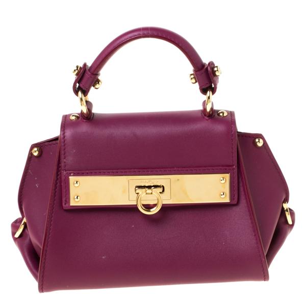 Pre-owned Salvatore Ferragamo Burgundy Leather Mini Sofia Crossbody Bag