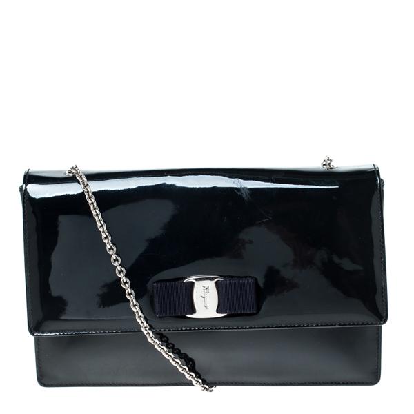 Pre-owned Salvatore Ferragamo Navy Blue Patent Leather Crossbody Bag