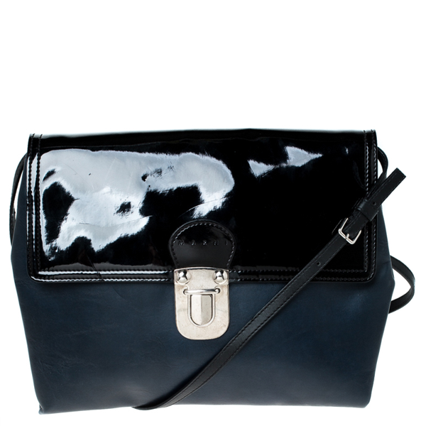 Pre-owned Marni Navy Blue/black Leather And Patent Leather Flap Crossbody Bag