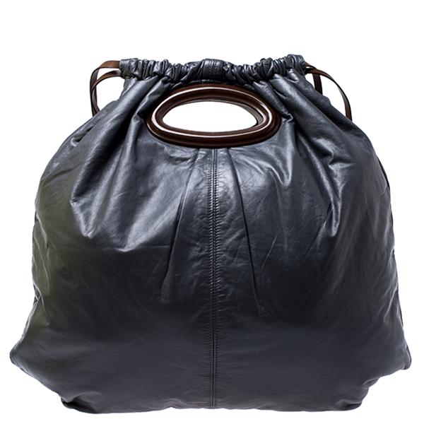 Pre-owned Marni Dark Grey Nappa Leather Drawstring Shoulder Bag