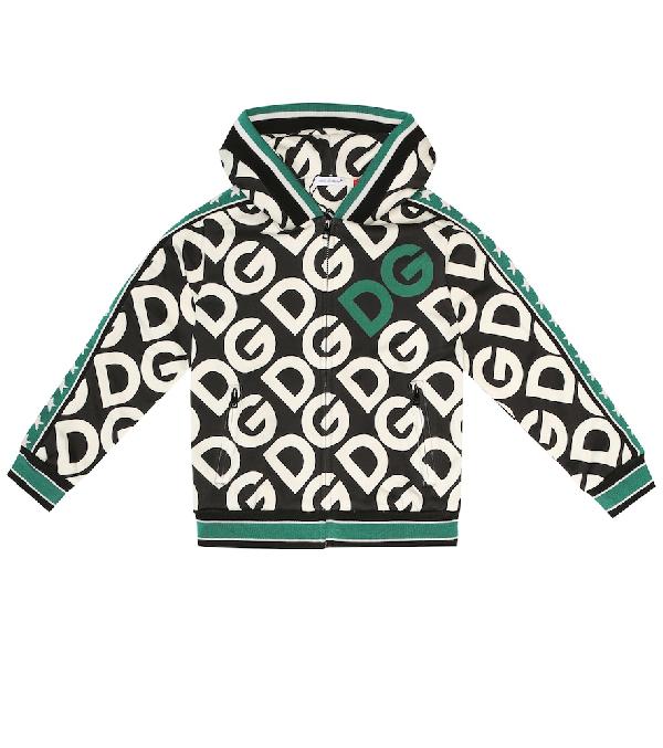 Dolce & Gabbana Kids' Cotton Dg Logo Zip Hoodie In Multicoloured