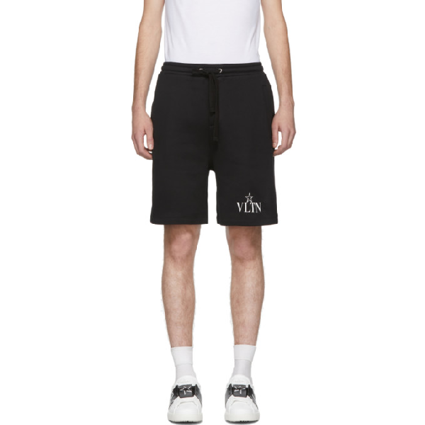 Valentino Wide-leg Logo-print Loopback Cotton-blend Jersey Shorts In 0ni Nero/vl