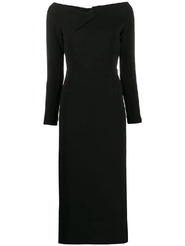 Roland Mouret Romolo Off-the-shoulder Stretch-crepe Midi Dress In Black