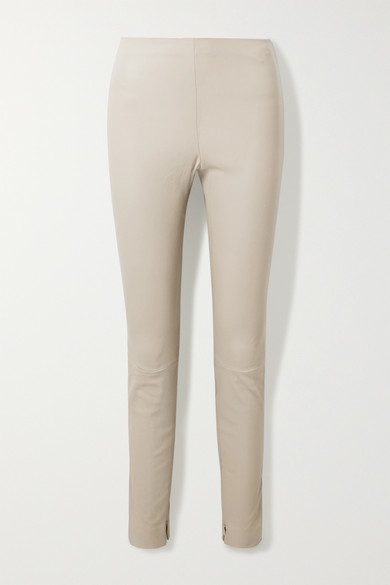 Theory Stretch-leather Leggings In Taupe