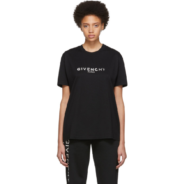 Givenchy Vintage Logo Printed Jersey T-Shirt In 001 Black
