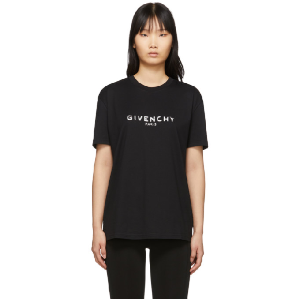 Givenchy Distressed Logo Oversize Graphic Tee In 001 Black