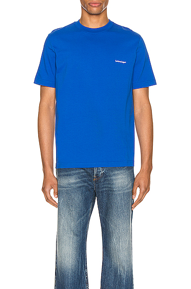 Balenciaga Logo-print Cotton-jersey T-shirt In Sapphire
