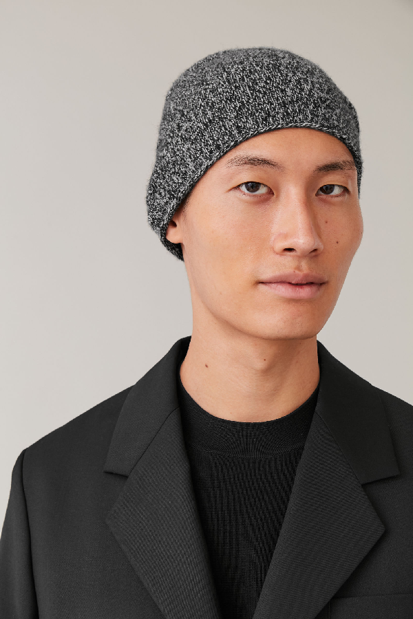 Cos Cashmere Mouline Beanie In Black