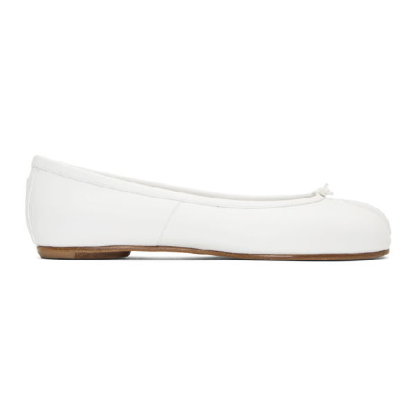 Maison Margiela Ballerina Tabi In Leather White Color In T1003 White